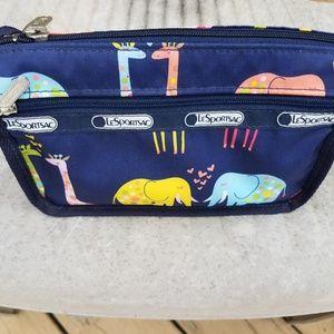 LeSportsac animal cosmetic makeup bag